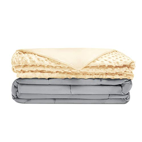 Quility Premium Adult Weighted Blanket & Removable Cover | 15 lbs | 48'x72' | for Individual Between 140-180 lbs | Twin Size Bed | Premium Glass Beads | Cotton/Minky | Grey/Ivory