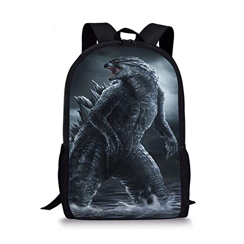 Polero Godzilla Rucksack, Kinder Campus Schulranzen für Kinder Schulter Bookbag Dinosaurier Bedruckt Rucksack Monster Daypack Outdoor-Reisetaschen für Mädchen und Jungen