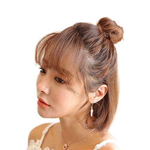PengCheng Pang Perruque sac de vrais cheveux anneau de cheveux raides duveteux costume de tête de demi-boule naturel (Color : Curly hair)