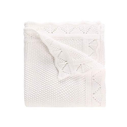 LAT Babydecke aus 100% Bio Baumwolle Baby Strickdecke 80 x 100 cm Kuscheldecke Vielseitig Nutzbare Wolldecke als Kinderwagendecke, zum Pucken, Erstlingsdecke, Wolldecke für Jungen und Mädchen(Weiß)