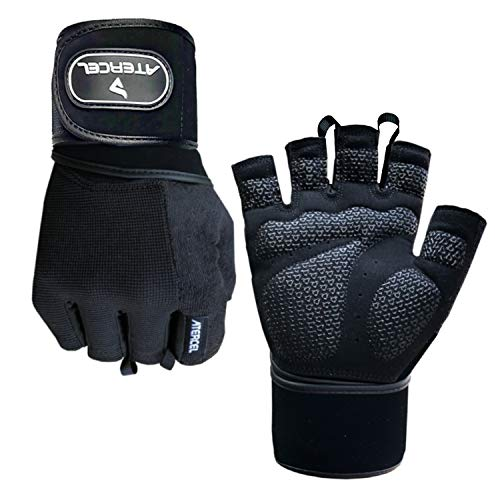 Atercel Weight Lifting Gloves with 20' Leather Wrist Wraps Support, Best Workout Exercise Gloves for Powerlifting, Crossfit, Training, Breathable & Snug Fit - for Men & Women (Pair) (Black, M)
