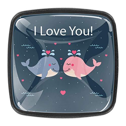 4 pomos redondos de metal para armario o cajón, tiradores de puerta de cajón, diseño de ballena I Love You