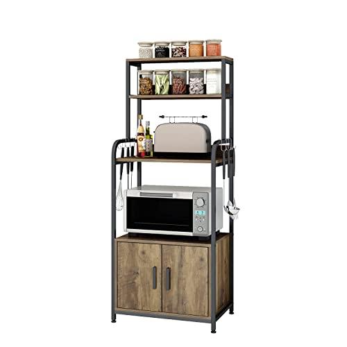 Küchenregal Standregal mit S-Haken und Regalablagen Bäckerregal aus Holz und Metallrahmen für die Küche Mikrowellen Gewürze in Industrie-Design Braun 60x40x149 cm