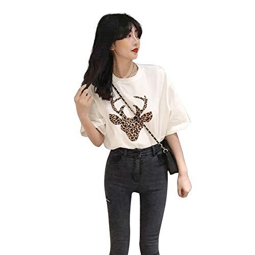 Thriving-Hong - Camiseta de manga corta para mujer, diseño de ciervos de leopardo