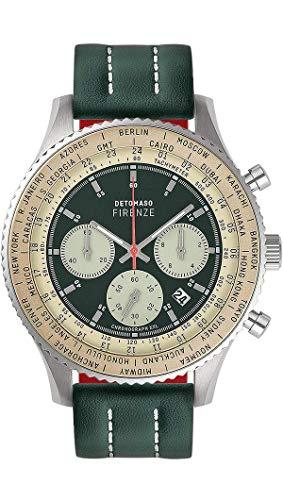 DETOMASO Firenze XXL Herren-Armbanduhr Chronograph Analog Quarz silbernes Edelstahl-Gehäuse grünes Lederarmband grünes Zifferblatt D04-01-01
