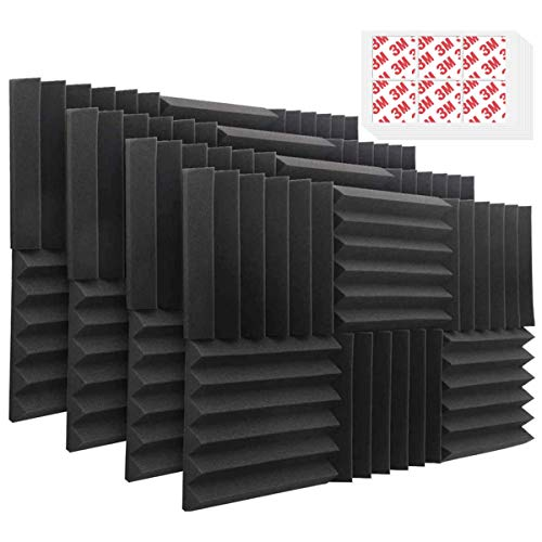 DEKIRU 48 Pack Acoustic Foam Panels, 12'X 12'X 2' Sound Proof Padding Wall Soundproofing Wedge Tiles, Ideal for Home&Studio Noise Cancelling Sound Insulation Absorbing (With Tapes)
