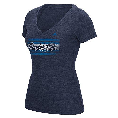adidas NBA - Camiseta de Manga Corta para Mujer con Cuello en V, Mujer, Camiseta con Cuello en V y Rayas de Madera, B366W WBFQ, Azul Marino, M