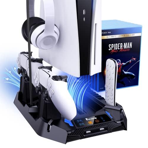Benazcap Soporte Vertical PS5 con Ventilador, Accesorios PS5 para la Consola Playstation 5 con Estación de Cargador de Doble Mando, 1 Soporte para Auriculares y 8 Ranuras para Juegos -Negro