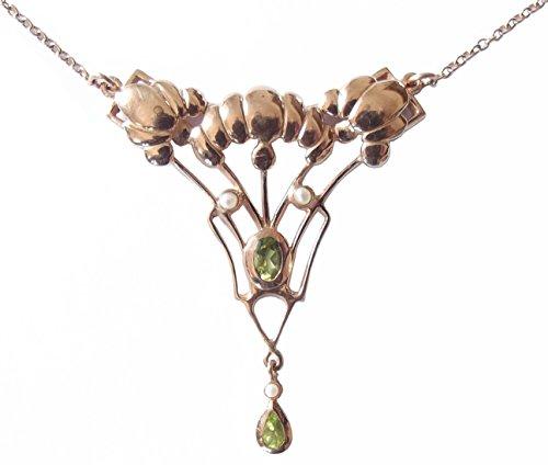 Collier Damen 925 Silber vergoldet Peridot Perlen Antikstil