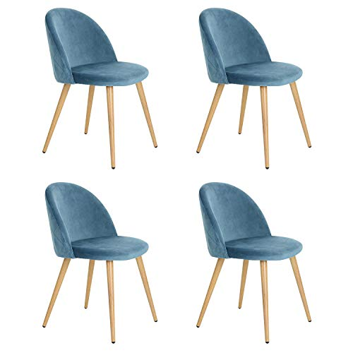 N/A Set di 2/4/6 sedie da Pranzo in Velluto Sedie Mid-Century in Stile Moderno per Il Tempo Libero Sedie Laterali Imbottite con Gambe in Metallo per Soggiorno (Blu, 4)