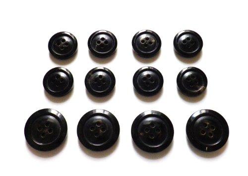 本水牛ボタン スーツ1着分セット オリジナル型 ��1024 漆黒