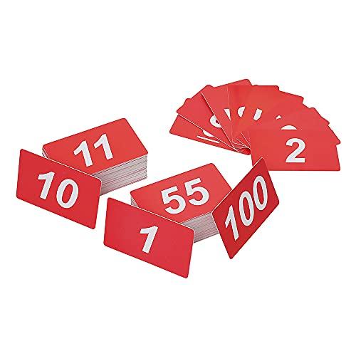 ASPIRE Chiffres en plastique double face, 1 à 100, blanc sur rouge, taille carte de crédit, rouge