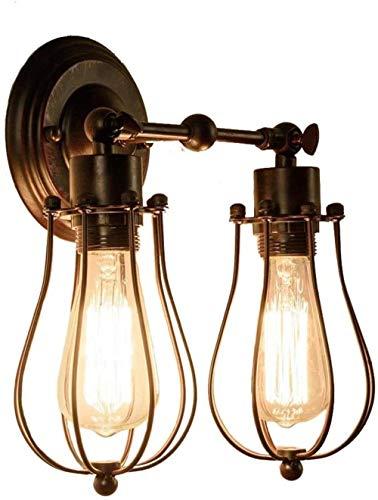 XINGDONG - Soporte de luz vintage retro para pared de alambre rústico de metal, candelabros de pared retro para casa, bar, restaurante, cafetería, decoración de club duradero (color: bronce)