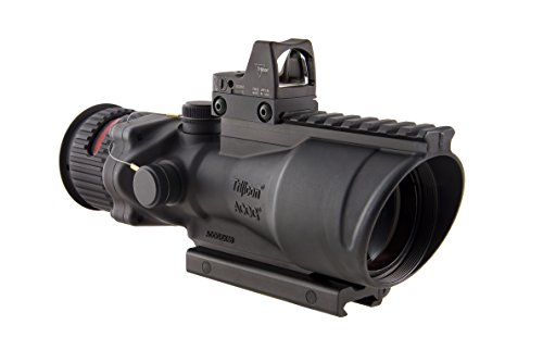 Trijicon 6x48mm ACOG Dual Illumination Red Chevron .308 Ret Rail 6.5 MOA RMR 2 Sight TA75 Mount Black Optics