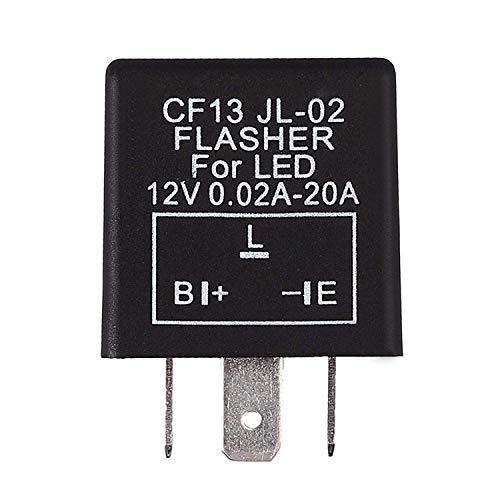 3Pins Blinkrelais Flasher Relay LED-Licht Blinker Relais Blinkgeber mit Schaltkreisschutz und Rückwärtsschutz 0.02A-10A 12V für Auto, Motorrad und so weiter