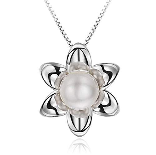 100% sterling zilver modieuze shampoo bloem imitatie parel dame hanger ketting korte doos ketting sieraden verjaardagscadeau