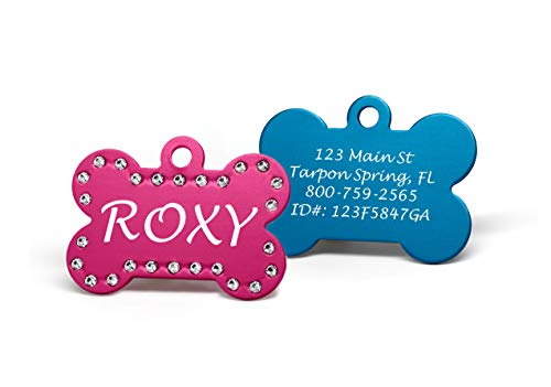 Providence Engraving Custom Engraved Pet ID Tags with Swarovski Crystal - 1.5' Long x 1' Tall, Anodized Aluminum, Bone Shape, Pink