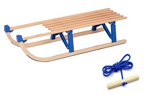 rodel-rudi Vt-Sport Klappschlitten Davos Mit Kunststoffbrücken Faltschlitten, Holz/Blau, 100 cm