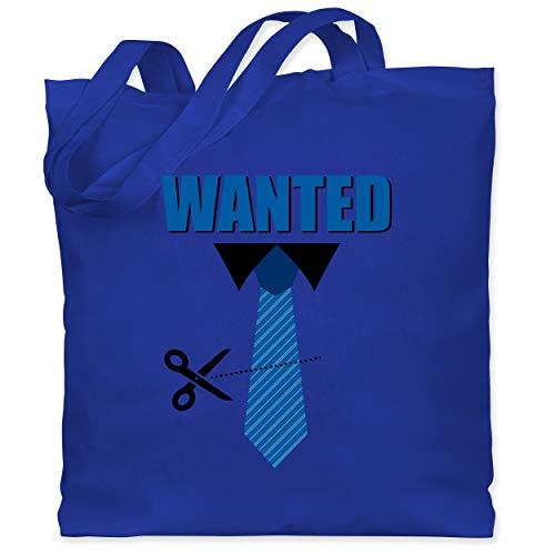 Shirtracer Karneval & Fasching - Krawatte Wanted - Weiberfastnacht - Unisize - Royalblau - Geschenk - WM101 - Stoffbeutel aus Baumwolle Jutebeutel lange Henkel