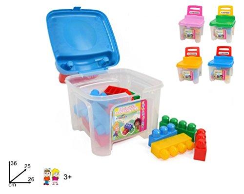 Fair Sediolina Bambini Contenitore con Costruzioni Medie in Plastica Colorate Sedia Bimbi
