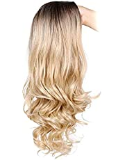 1PC Natural Blond Pruiken Soft Frontale krullend haar High Density hittebestendige synthetische haar golvend Volledige Pruiken for vrouwen Meisjes (Blondiuml; frac14; permil; HAIKE