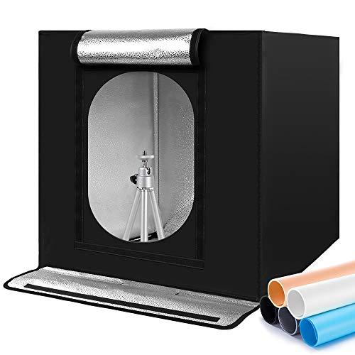 Photobox Fotostudio, 60x60x60 cm Tragbares faltbares Fotolichtbox Lichtzelt mit 2 LED Beleuchtung Hoher CRI95 +,5 Hintergründe 1 Farbfilter Lichtwürfel für die Produktfotografie Fotostudio Set