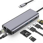 Baozun USB C Hub 7-in-1 Typ C Hub mit Ethernet 4K HDMI 2 USB 3.0 Ports SD/TF Kartenleser-Steckplatz Datenhub USB C Dex Station LAN Netzwerk USB C Power Delivery für MacBook und mehr Typ-C-Geräte