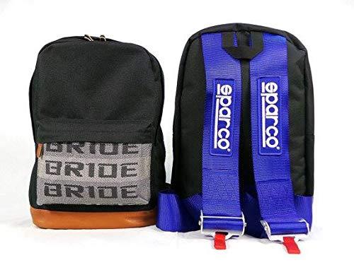 Kei Project Bride Racing Rucksack, braune Unterseite mit schwarzen SPR Gurten, Blau SPR, Medium