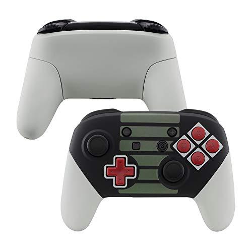 eXtremeRate Gehäuse Set für Nintendo Switch Pro Controller,Hülle Gehäuse Case Schale Giffe Ersatzteile mit Rote Tasten ABXY Knöpfe für Nintendo Switch Pro Controller-Kein Controller(Classic NES)