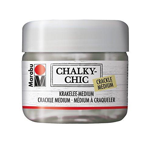 Marabu 02620025840 - Chalky Chic Krakelee Medium, transparent 225 ml, auf Wasserbasis, für Reißlacktechnick, ideal zum Kombinieren mit Kreidefarbe, für Vintage Look