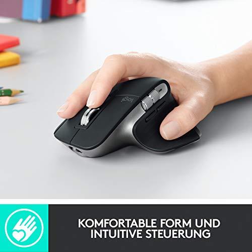 Logitech MX Master 3 – Die fortschrittliche, kabellose Maus für Mac, Ultraschnelles Scrollen, ergonomisches Design, 4.000 DPI, individualisierbar, USB-C, Bluetooth, für MacBook und iPad, Grau - 5