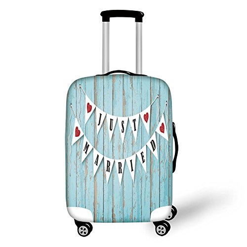 Travel Luggage Cover Suitcase Protector,Wisdom Post It Perks on Wooden Rustic Ba