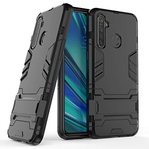 LXHGrowH Funda Realme 5 Pro, Fundas 2in1 Dual Layer Anti-Shock 360° Full Body Protección TPU Silicona Gel Bumper y Duro PC Armadura con Soporte Carcasa para Realme 5 Pro/Realme Q, Negro