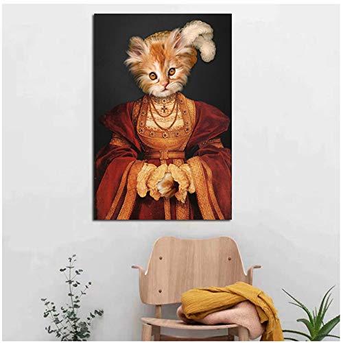 NIESHUIJING Druck auf Leinwand Gemälde Fantasievolle Fasion Tierkleid Impressionist Raumdekoration Wandkunst Bilder 60 x 80 cm (23,6 x 31,4 Zoll) Kein Rahmen3