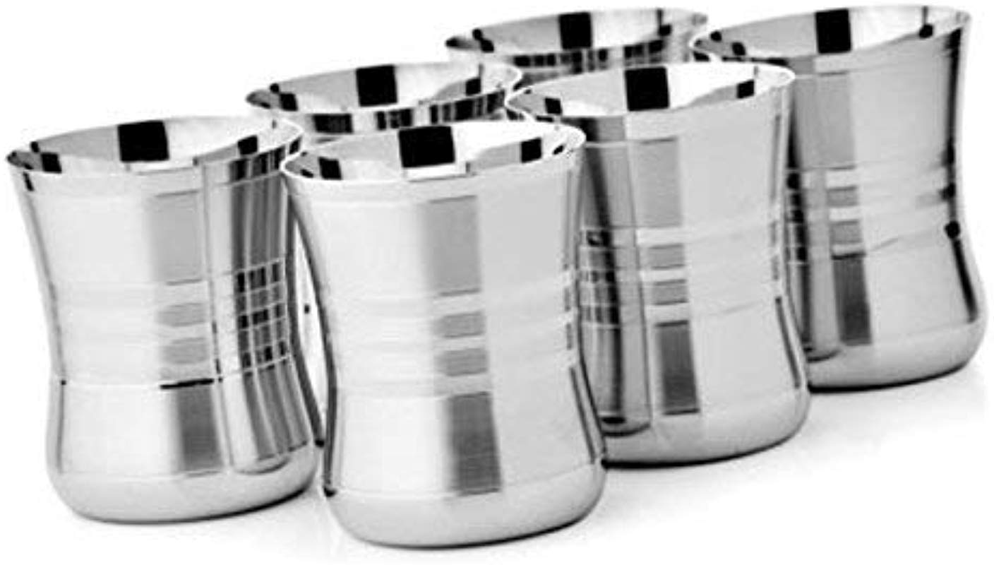 Premium Grade Stainless Steel Pint Cups Water Tumblers 6 Piece Unbreakable Stackable Brushed Metal Drinking Glasses Chilling Beer Glasses