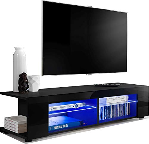 ExtremeFurniture T37 TV Mobile, Carcassa in Nero Opaco/Frontali in Nero Lucido senza luci a LED