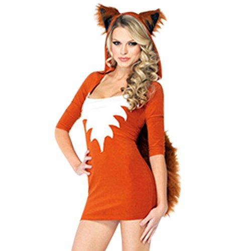 LAEMILIA Halloween Fuchs Kostüm Tier Damen Kleid Cosplay Erwachsene Tierkostüm Fasching Kapuzenkleid (0345-Fuchs)