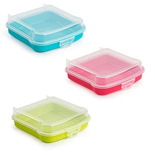 QILZO® Porta Sandwich, Porta Almuerzo, Fiambrera para merienda, Almacenamiento de Alimentos Reutilizable 14,8x14,8x4,25cm. Envío 1 Unidad de Color Aleatorio. Fabricado en España