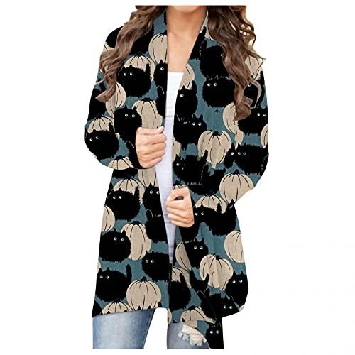 할로윈 카디건 여성 여자 할로윈 오픈 프론트 카디건 긴 소매 재미 있은 귀여운 호박 고양이 유령 코트