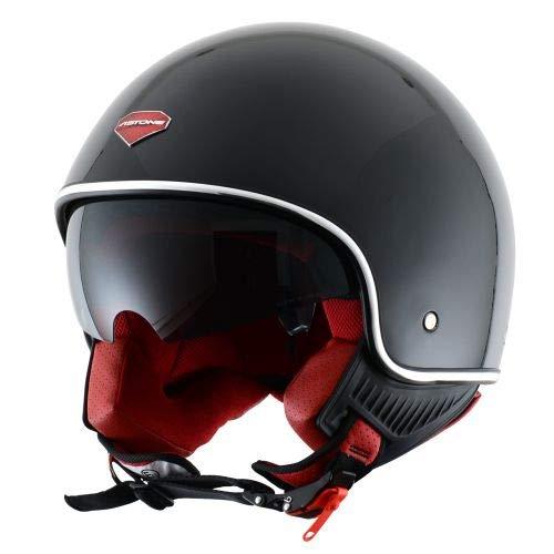 Astone Helmets - Minijet rétro - Casque jet rétro - Casque de moto vintage - Casque café racer- Casque en polycarbonate - gloss black M