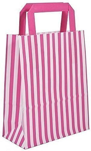 1000 Rosa Candy Stripe Papiertragetaschen mit flachen Griffen 26cm x 35cm x 12  wecansourceit