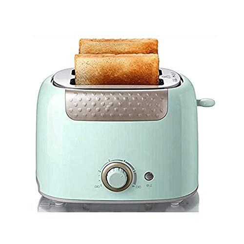 Tostadora 2 rebanadas de pan de bagel Ranuras extra anchas de acero inoxidable con función de apagado automático y recalentamiento de descongelación Bandeja de migas extraíble,680 W (Color:Verde) xiao