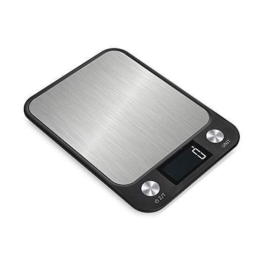 Digitale Küchenwaage Edelstahl Elektrische Küchenwaage Hochpräzise Lebensmittelbackwaage LCD-Hintergrundbeleuchtung Schwarz 10 kg