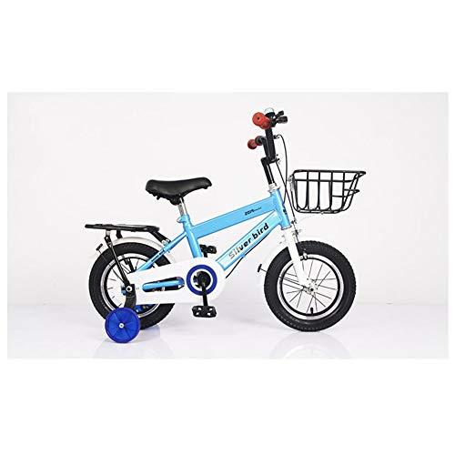 KXDLR Kinderfiets voor jongens en meisjes, voor 2-9 jaar, 12 14 en 18 inch, kinderfiets met steunwielen, blauw, 16 inch