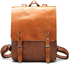 LXY Vegan Leather Backpack Vintage Laptop Bookbag for Women Men, Brown Faux Leather Backpack Purse College School Bookbag Weekend Travel Daypack