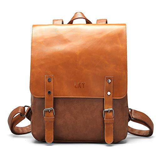 LXY Vegan Leather Backpack Vintage Laptop Bookbag for Women Men, Brown Faux Leather Backpack Purse College School Bookbag Weekend Travel Daypack