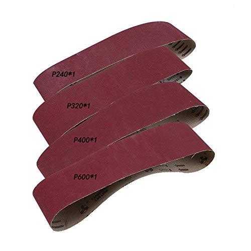 Schleifbänder aus Aluminiumoxyd, GOODCHANCE UK 915 x 100mm Polierschleifbänder Set aus 4 240/320/400/600 Schleifpapierstreifen