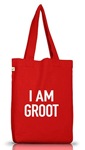 Shirtstreet24, I Am Groot, Serien Nerd Jutebeutel Stoff Tasche Earth Positive (ONE SIZE), Größe: onesize,Red