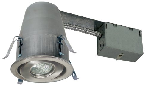 Liteline RC40218ENB-BN All-In-One 4-Inch Recessed Combo, with Remodel Housing, 120V MR16 Halogen Bulb, Front Load Gimbal Trim, Brushed Nickel