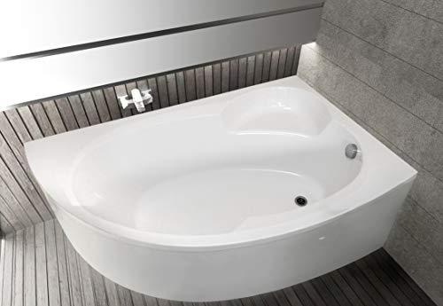 ECOLAM Badewanne Wanne Eckwanne Eckbadewanne Eck Carmen Acryl weiß 170x100 cm RECHTS + Schürze Ablaufgarnitur Ab- und Überlauf Automatik Füße Silikon Komplett-Set